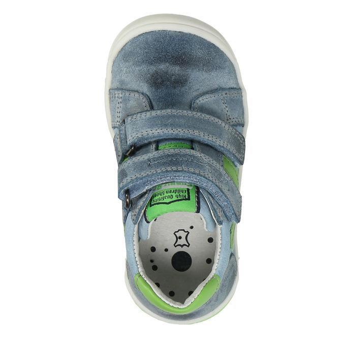Detská kožená obuv na suchý zips bubblegummers, šedá, 116-2600 - 17