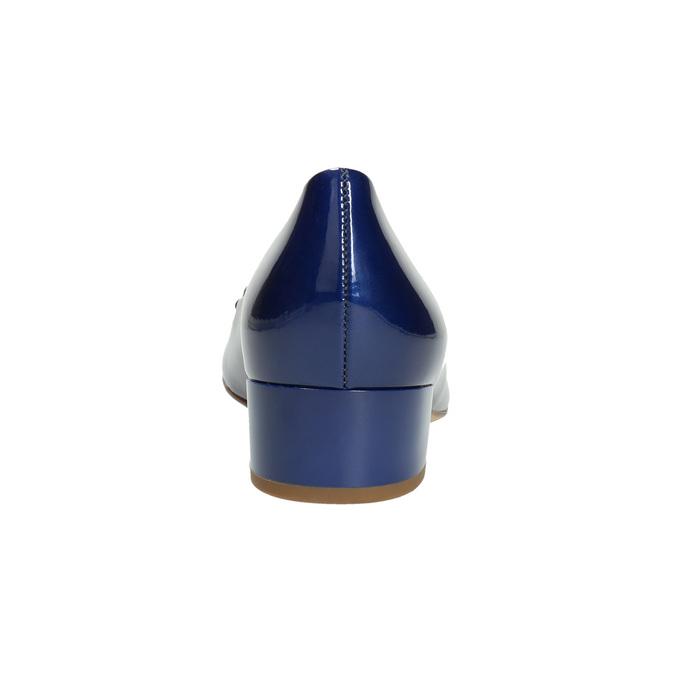 Kožené lodičky s mašľou hogl, modrá, 628-9400 - 17