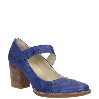 Kožené lodičky s remienkom cez priehlavok bata, modrá, 626-9641 - 13