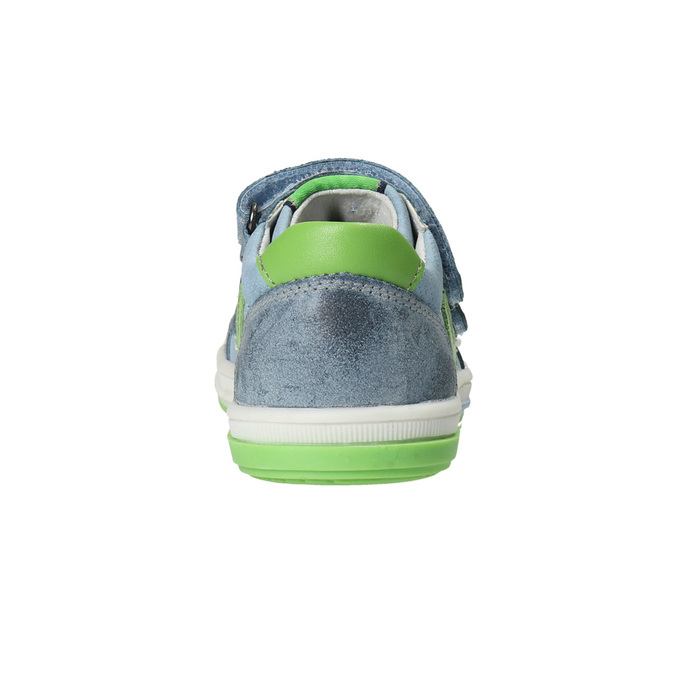 Detská kožená obuv na suchý zips bubblegummers, šedá, 116-2600 - 15