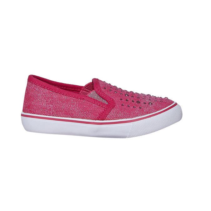 Dievčenské Slip-on obuv s kamienkami north-star, ružová, 229-5193 - 15