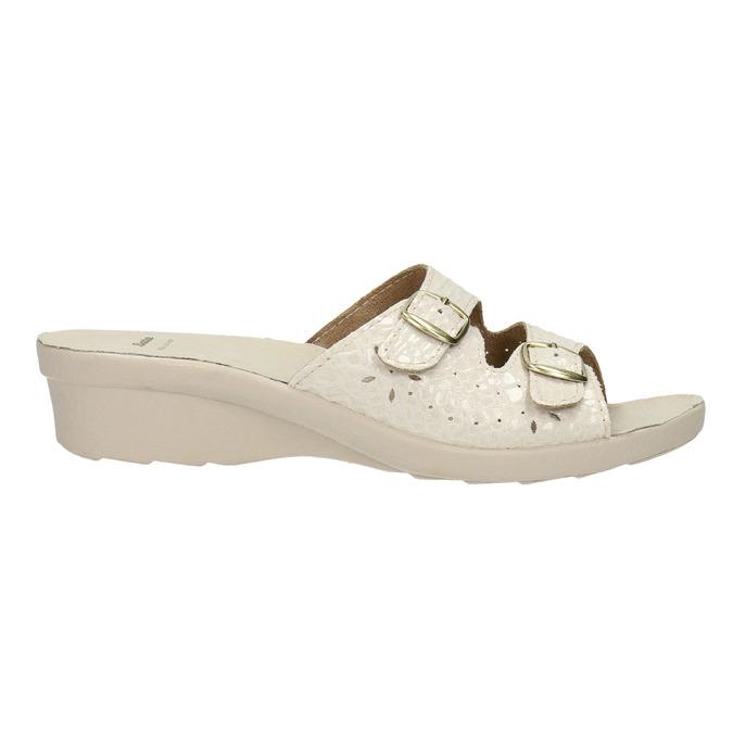 Dámska domáca obuv na podpätku bata, béžová, 579-8611 - 15