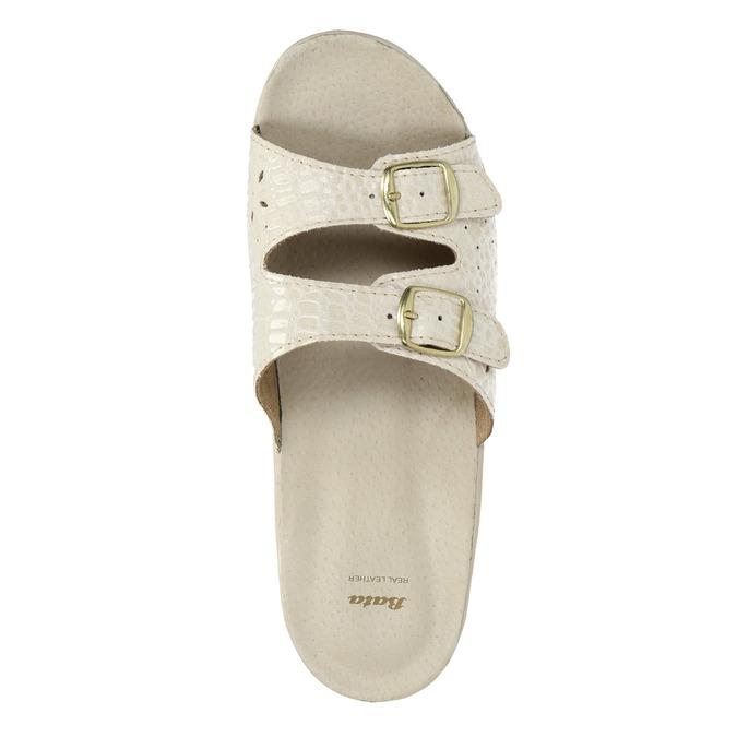 Dámska domáca obuv na podpätku bata, béžová, 579-8611 - 19