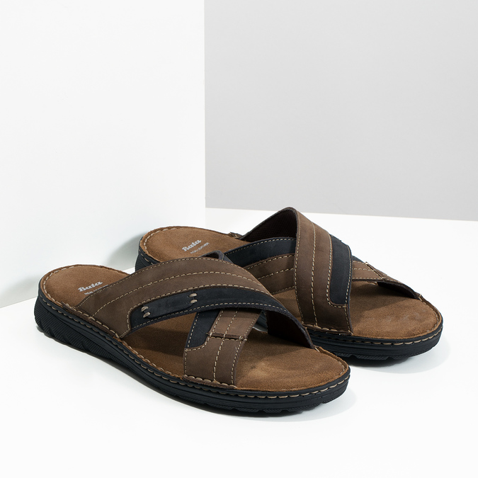 Kožené pánske letné nazuváky bata, hnedá, 866-4612 - 26