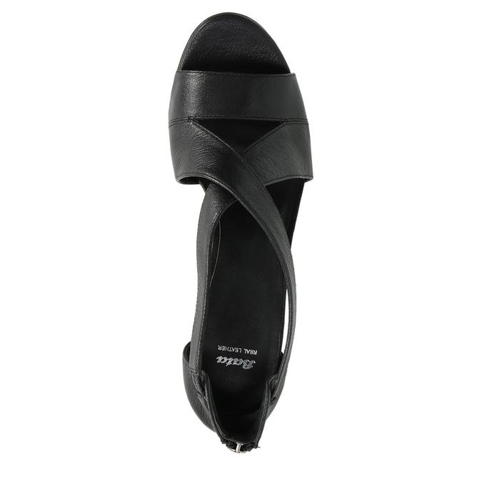 Čierne kožené sandále bata, čierna, 766-6601 - 19