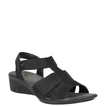 Kožené sandále na klinovom podpätku bata, čierna, 666-6609 - 13
