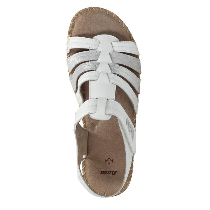Kožené sandále šírky H bata, biela, 566-1604 - 19