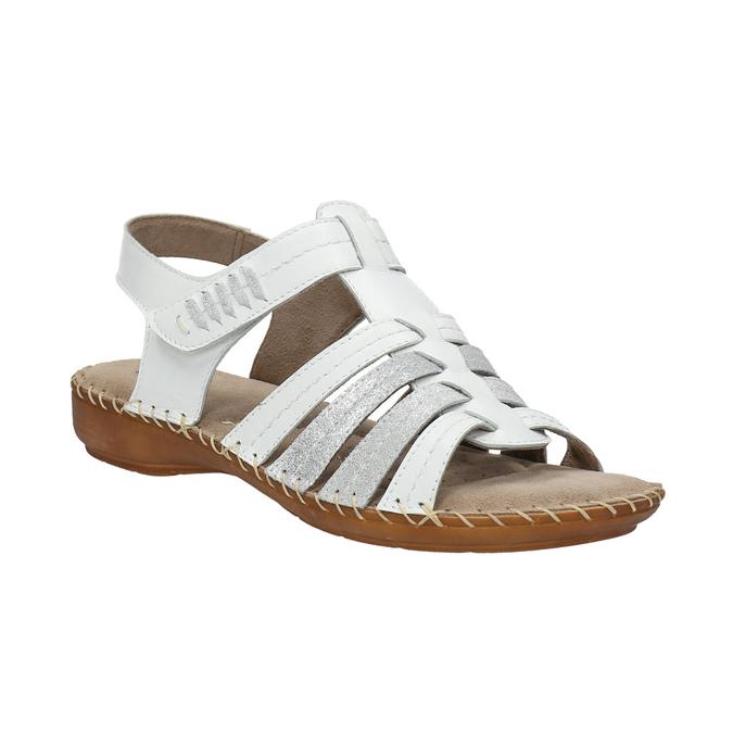 Kožené sandále šírky H bata, biela, 566-1604 - 13