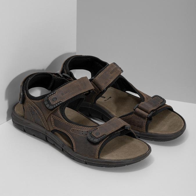 Pánske hnedé kožené sandále na suchý zips weinbrenner, 866-4631 - 26