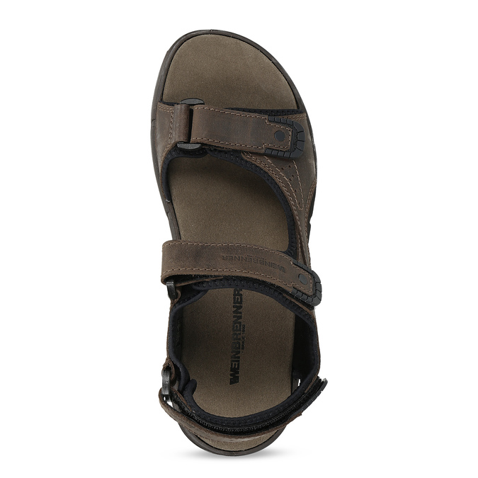 Pánske hnedé kožené sandále na suchý zips weinbrenner, 866-4631 - 17