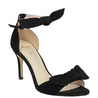 Dámske čierne sandále na podpätku insolia, čierna, 769-6614 - 13