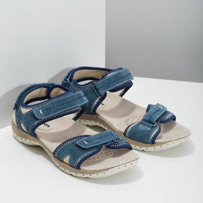 Kožené sandále v Outdoor štýle weinbrenner, modrá, 566-9608 - 26