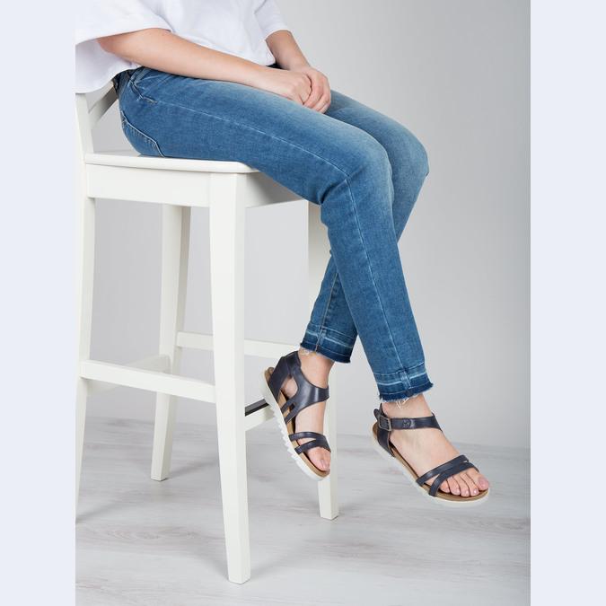 Kožené sandále na výraznej podrážke bata, modrá, 566-9606 - 18