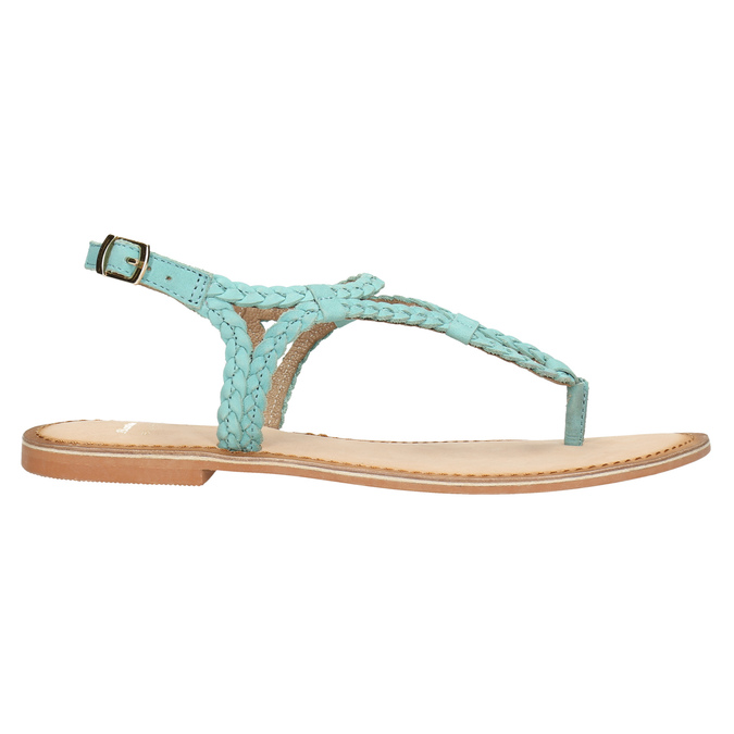 Kožené modré sandále s prepletením bata, modrá, 566-9621 - 15