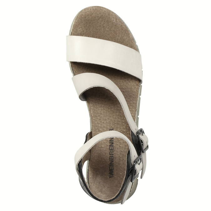 Dámske kožené sandále weinbrenner, šedá, 566-2627 - 19