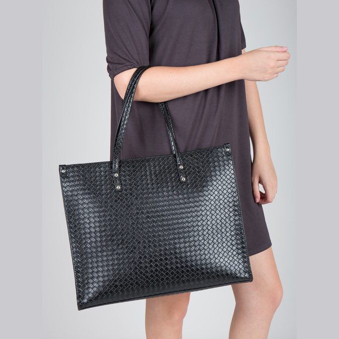 Kabelka s pleteným vzorom bata, čierna, 961-6540 - 18
