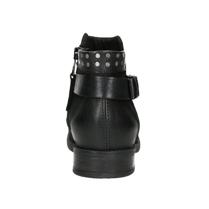 Členkové dámske čižmy s cvokmi bata, čierna, 596-6658 - 16