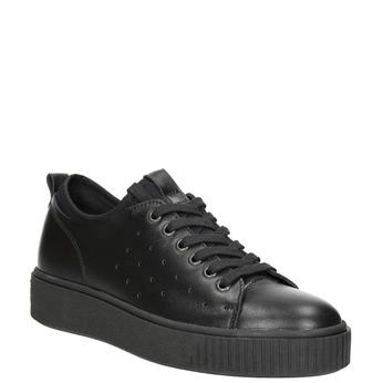 Dámske kožené tenisky s perforáciou bata, čierna, 526-6645 - 13