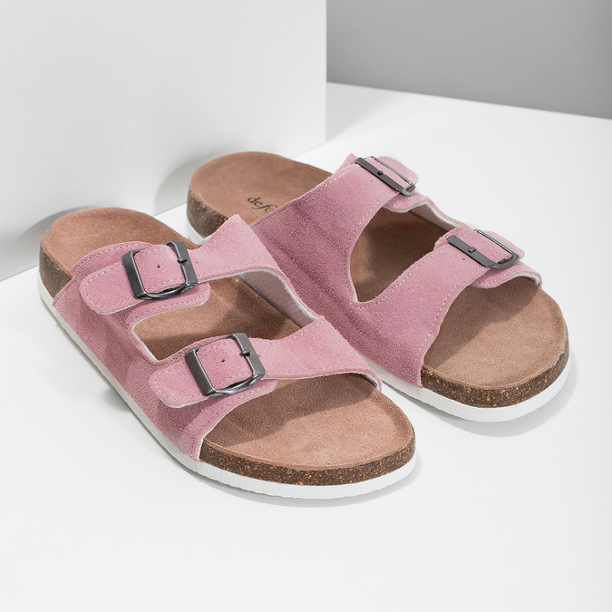 Kožená dámska domáca obuv de-fonseca, ružová, 573-5621 - 26
