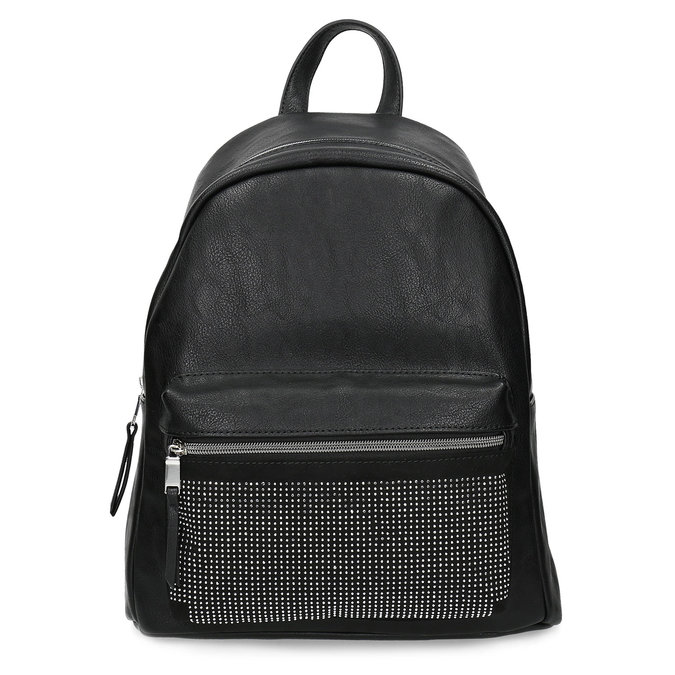 Čierny dámsky batoh s kamienkami bata, čierna, 961-6855 - 26