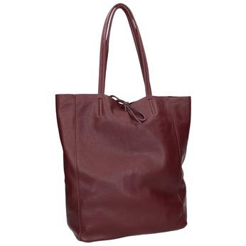 Vínová kožená Shopper kabelka bata, červená, 964-5522 - 13