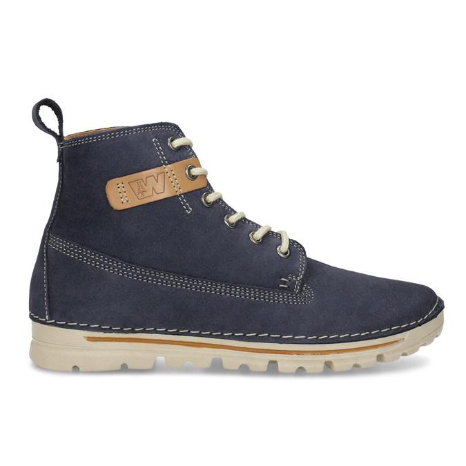 Kožená kotnikova obuv na šněrování weinbrenner, modrá, 594-9323 - 19