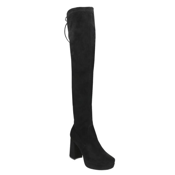 Čierne dámske čižmy nad kolená bata, čierna, 799-6663 - 13