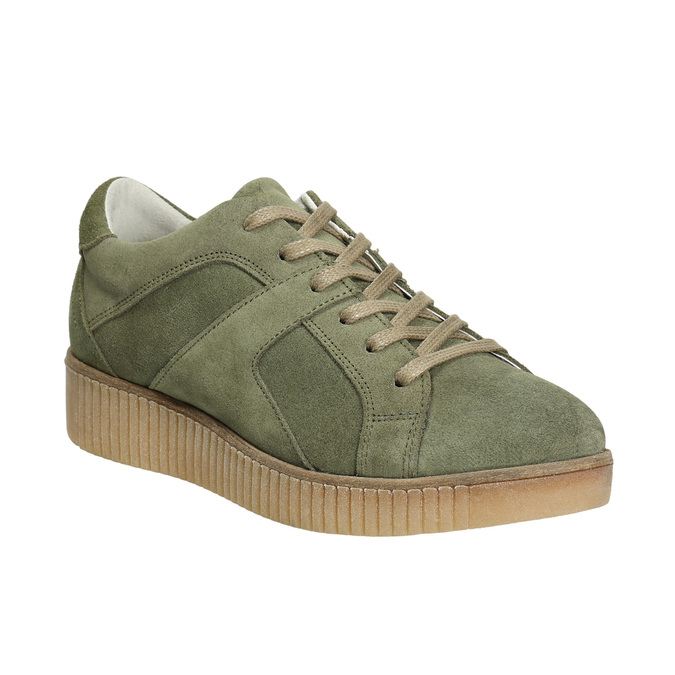 Dámske kožené khaki tenisky bata, zelená, 523-7604 - 13