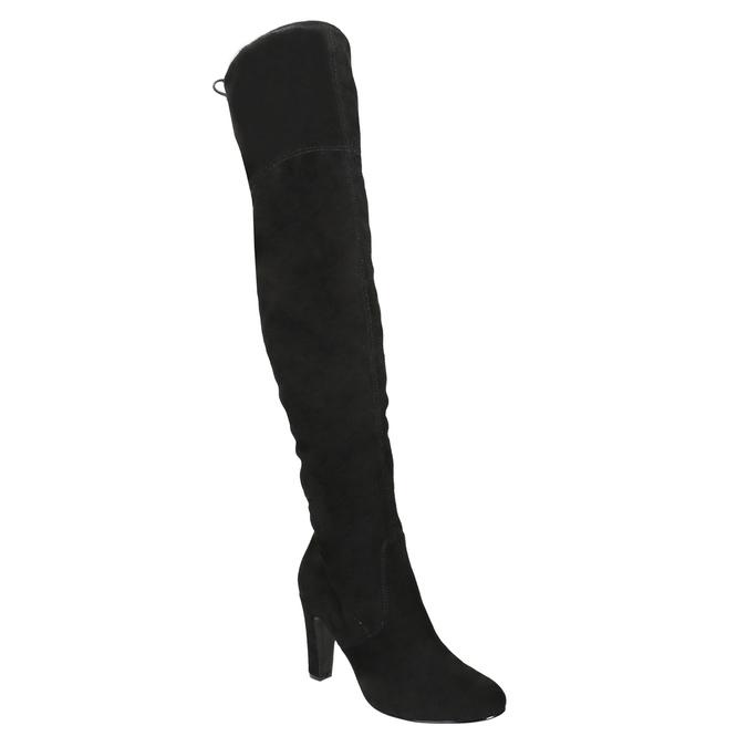 Čižmy nad kolená na podpätku insolia, čierna, 799-6618 - 13