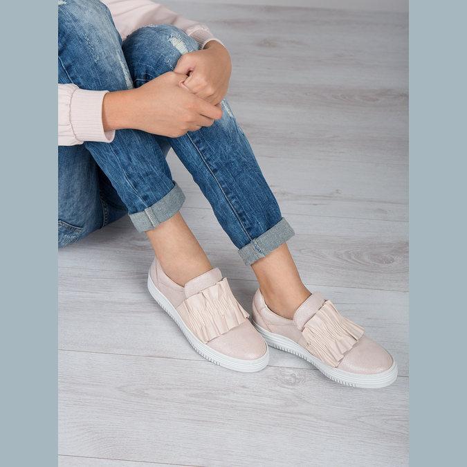 Kožené dámske Slip-on bata, ružová, 516-5614 - 18