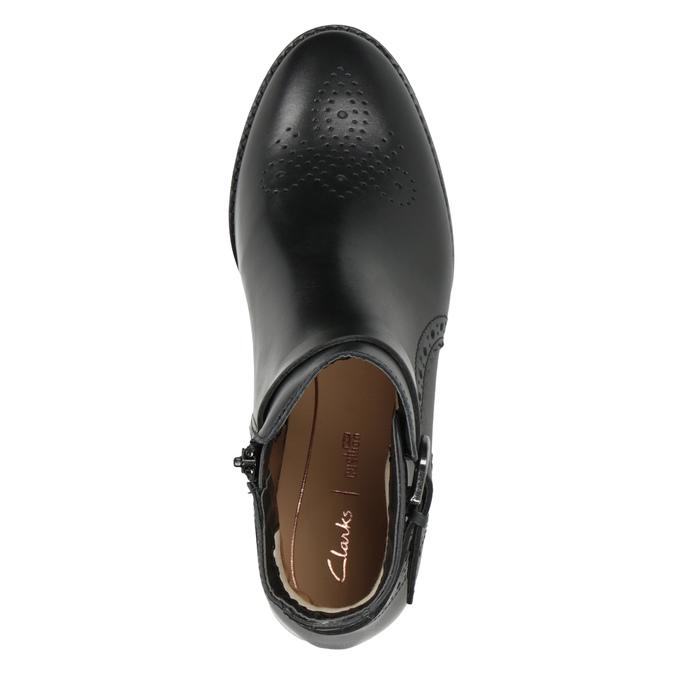 Kožená členková obuv so zdobením clarks, čierna, 614-6027 - 15