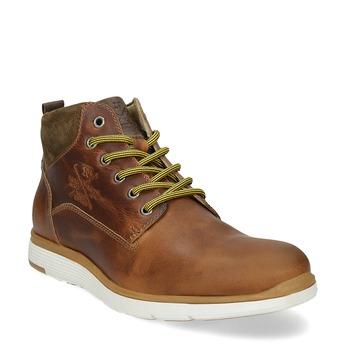 Hnedá kožená pánska členková obuv bata, hnedá, 846-3645 - 13