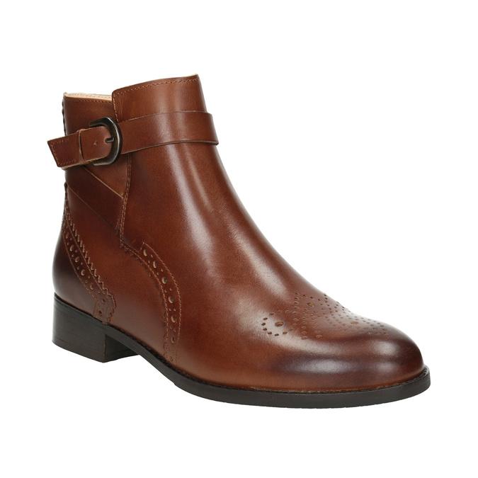Kožená členková obuv so zdobením clarks, hnedá, 616-3026 - 13