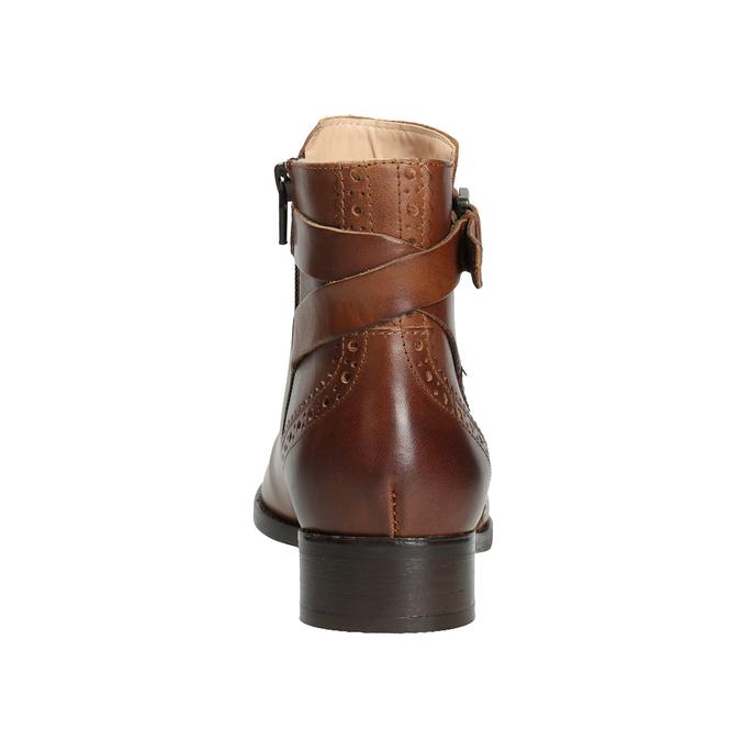 Kožená členková obuv so zdobením clarks, hnedá, 616-3026 - 16