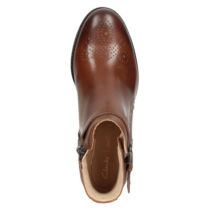 Kožená členková obuv so zdobením clarks, hnedá, 616-3026 - 15