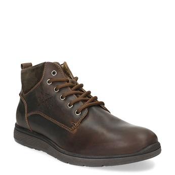 Pánska kožená členková obuv s prešitím bata, hnedá, 846-4645 - 13