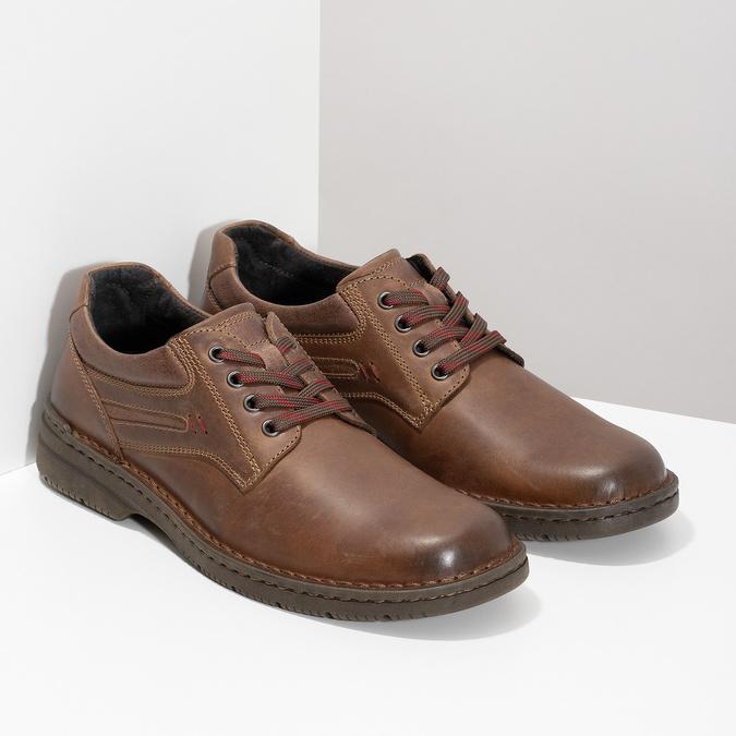 Hnedé kožené poltopánky bata, hnedá, 826-4918 - 26