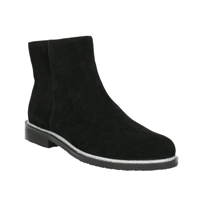 Kožená členková obuv so strieborným lemom bata, čierna, 593-6603 - 13