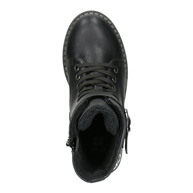 Členková detská obuv s výšivkou mini-b, čierna, 391-6654 - 26