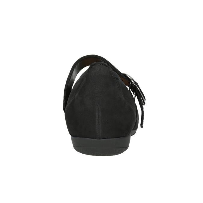 Kožené baleríny s remienkom cez priehlavok gabor, čierna, 514-6118 - 16