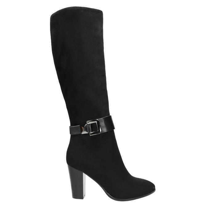 Dámske čižmy na podpätku bata, čierna, 699-6631 - 15