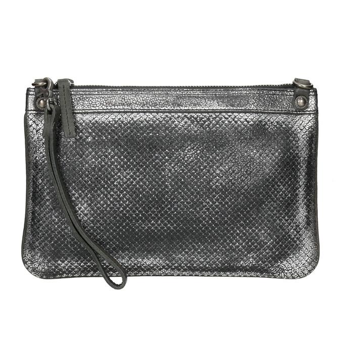 Kožená dámska listová kabelka so štruktúrou bata, strieborná, 964-1141 - 17