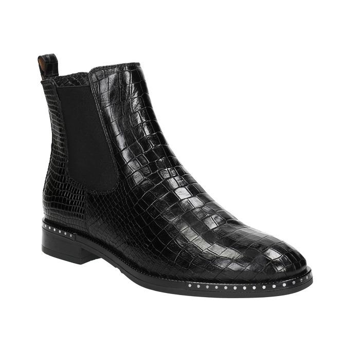 Kožená dámska Chelsea obuv so štruktúrou bata, čierna, 596-6678 - 13