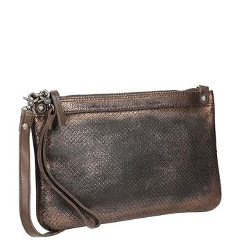 Dámska kožená metalická listová kabelka bata, hnedá, 964-4141 - 13