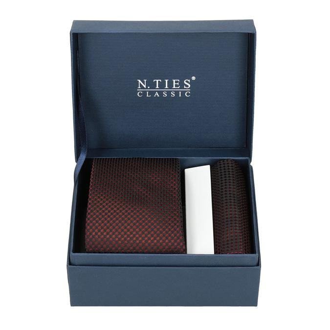 Sada kravaty a vreckovky so vzorom n-ties, červená, 999-5292 - 13