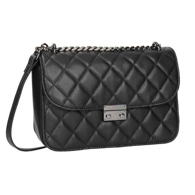 Čierna prešívaná Crossbody kabelka bata, čierna, 961-6141 - 13