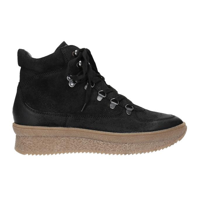 Kožená členková obuv so šnurovaním bata, čierna, 596-6673 - 26