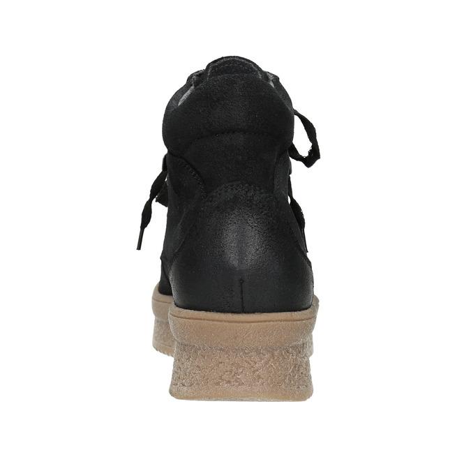 Kožená členková obuv so šnurovaním bata, čierna, 596-6673 - 16