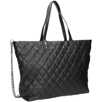 Prešívaná kabelka s retiazkou bata, čierna, 961-6139 - 13