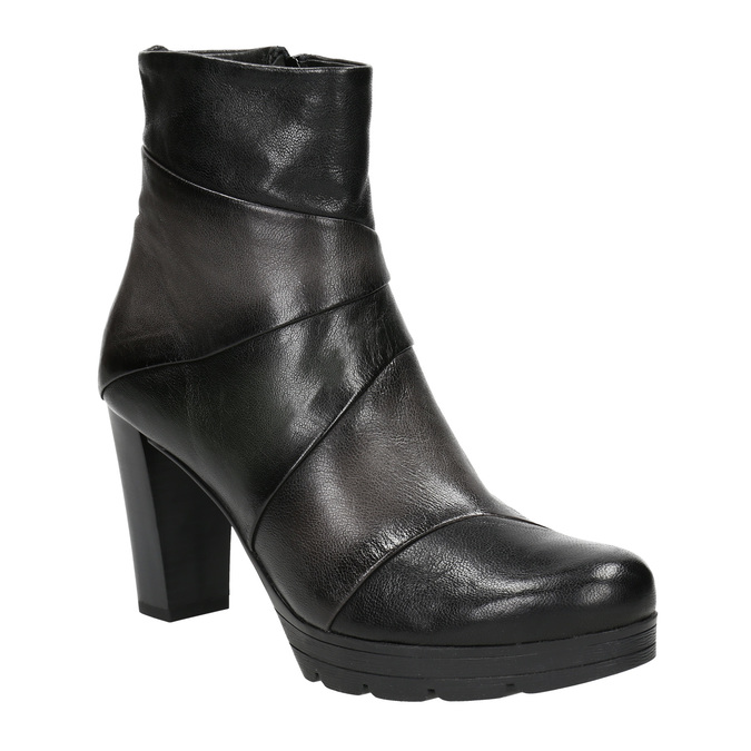 Kožená členková obuv na podpätku bata, šedá, 796-2650 - 13